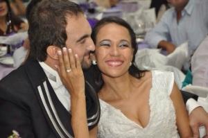 Betinho e Soraia em seu casamento, dia 16 de fevereiro de 2013