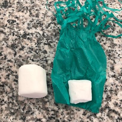 Marshmallow (esq.) e a bala de coco